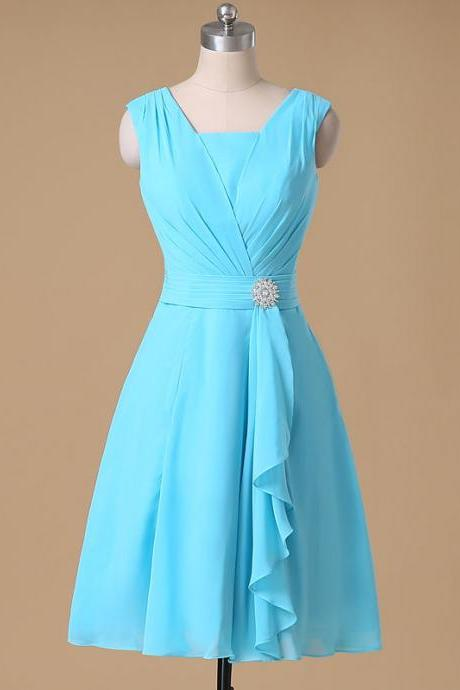 A-line V-neck Chiffon Bridesmaid Dresses,Ruched Short Chiffon Dresses,Knee length Ruffles Chiffon Formal Dresses,
