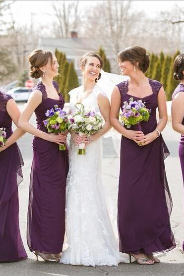 Purple Bridesmaid Dresses 2017 Off The Shoulder Scoop Ruffled Chiffon Lace Cheap Vestidos Bridesmaid Dresses Wedding Party Gowns