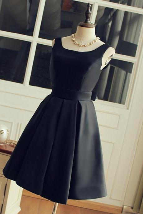Cheap homecoming dresses 2017,High Quality Black Satin Bridesmaid Dress,Short Black Party Dress,Straps Black Prom Dress,Occasion Dress,Cocktail Dress,Black Homecoming Dress,Little Black Dresses