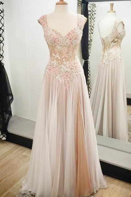 Cheap prom dresses 2017, Vintage A-line Prom Dresses with Lace Appliques, Noble Long Prom Dress with Low Back, Cap Sleeve Prom Gowns,