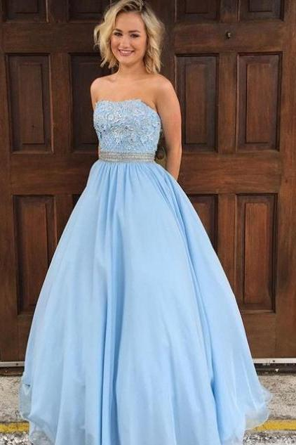Cheap prom dresses 2017, Blue Appliques Strapless Ball Gown Tulle Prom Dresses 2017