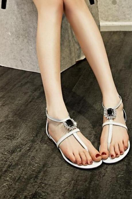 Flip Flops Women Fashion Leather Rhinestone Sandals