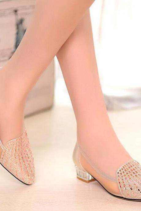 Ballet Flats Women Fashion Rhinestone Mesh Square Heel Shoes Solid Pointed Toe Moccasin