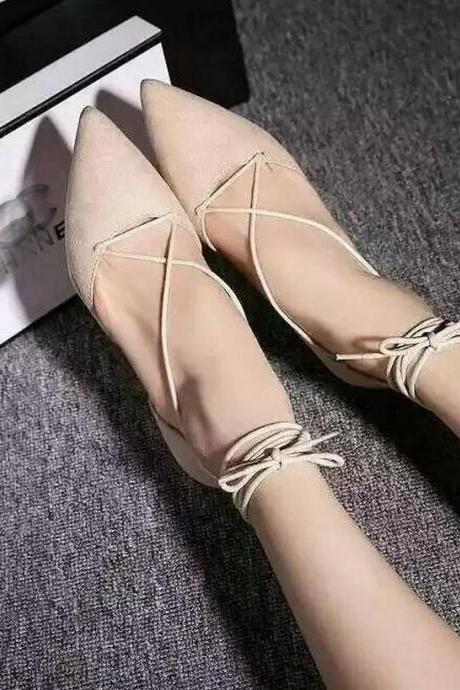 Lace-Up Pointed Toe High Heels