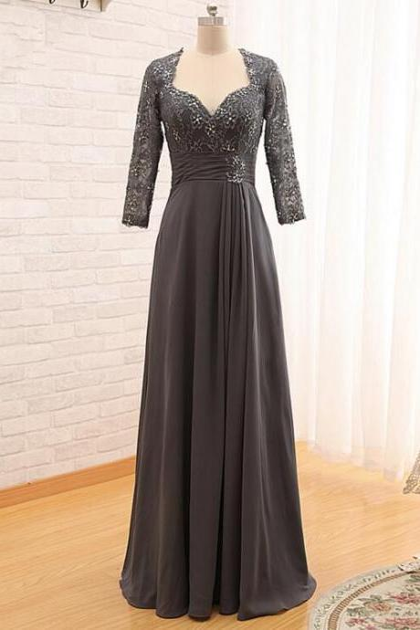 Grey Chiffon Mother Of The Bride Dresses Long Sleeves Lace Floor Length Evening Gown Plus Size Wedding Party Dresses