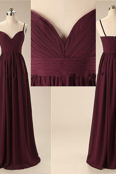 Burgundy Sweetheart Floor-length Chiffon Bridesmaid Dress