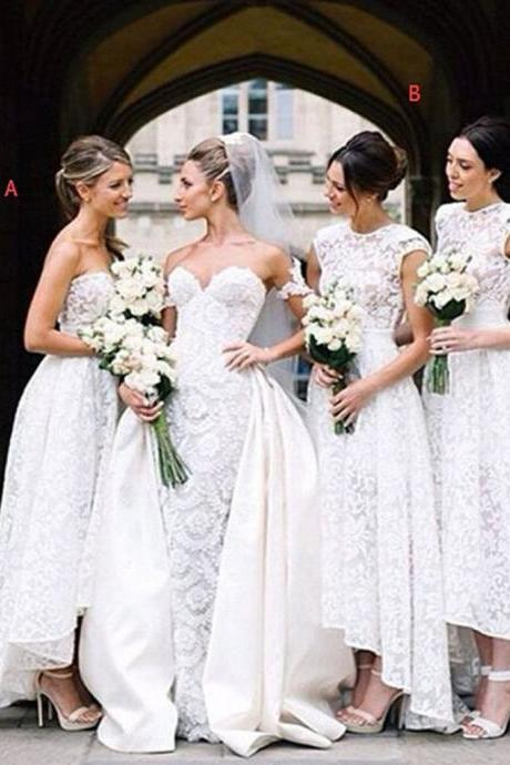 Gorgeous White Lace Mismatched Styles Hi Lo Pretty Long Bridesmaid Dresses for Wedding Party,