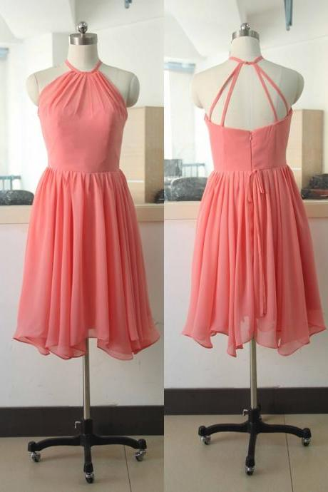 Halter Coral Chiffon Bridesmaid Gown Bridal Wedding Party Gown Coral Bridesmaid Gowns