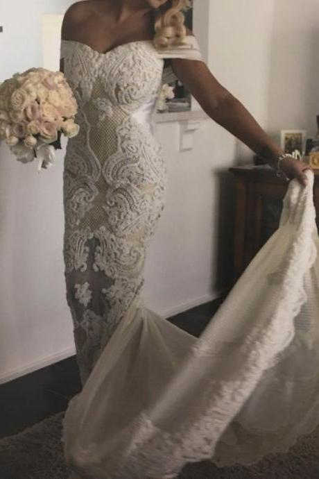 Ivory Off the Shoulder 3D Lace Wedding Dress with Sheer Train