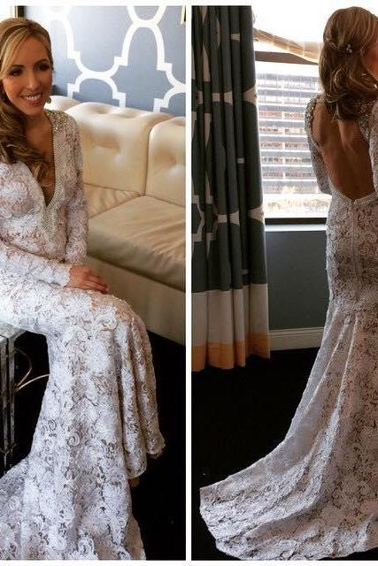 Wedding Dresses,Backless Wedding Gowns,Long Bridal Gown,Sexy V Neck Wedding Dress,Lace Wedding Bride Dresses,Bridal Dresses