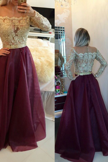 Cheap prom dresses 2017,Gorgeous burgundy organza long sleeve lace prom dress, graduation dresses