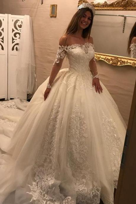 Luxury Royal Train Wedding Dress with Lace Appliques 2017 Elegant Off the Shoulder Long Sleeves Bridal Wedding Gowns Robe De Mariage