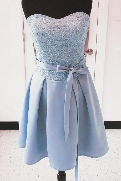 Cheap Short Bridesmaid Dresses 2017,Lace Covered Satin Short Dresses for Graduation with Lovely Belt,Real Photos Cute Wedding Party Dress