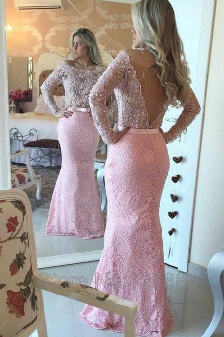 Cheap homecoming dresses 2017,Mermaid Evening Dress, Lace Evening Dress, Backless Evening Dress, Long Evening Dress, Peals Evening Dress, Elegant Evening Dress, Long Sleeve Evening Dress, Pink Evening Dress