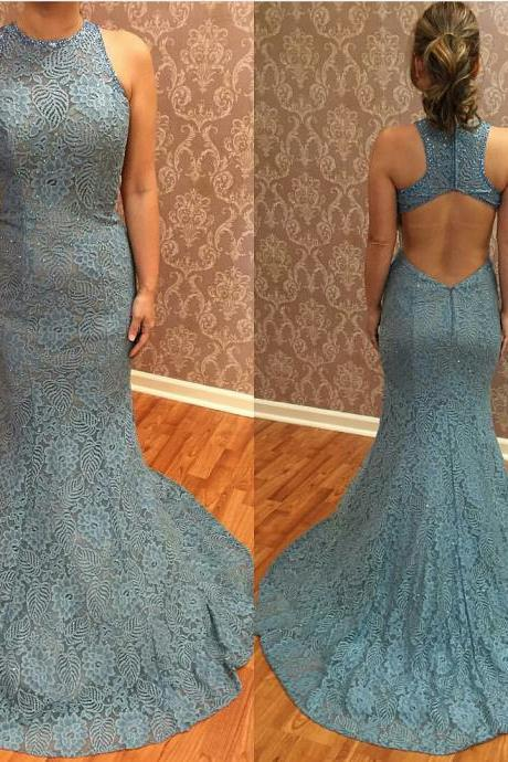 Cheap homecoming dresses 2017,Dusty Blue Evening Dress, Sexy Evening Dress, Mermaid Evening Dress, Beaded Evening Dress, Backless Evening Dress, Formal Party Dresses, Long Evening Dress, Lace Evening Dress