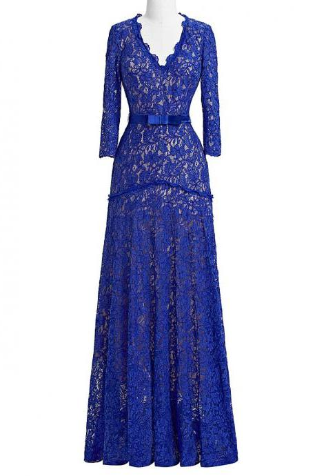 Royal Blue Lace Sheath Long Sleeves V-neck Mother Of The Bride Dresses