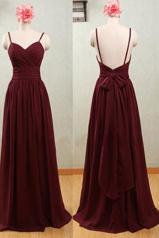 Spaghetti Straps Bridesmaid Dresses, Sexy Backless Bridesmaid Dresses, Red Claret Chiffon Sweetheart Bridesmaid Dresses,