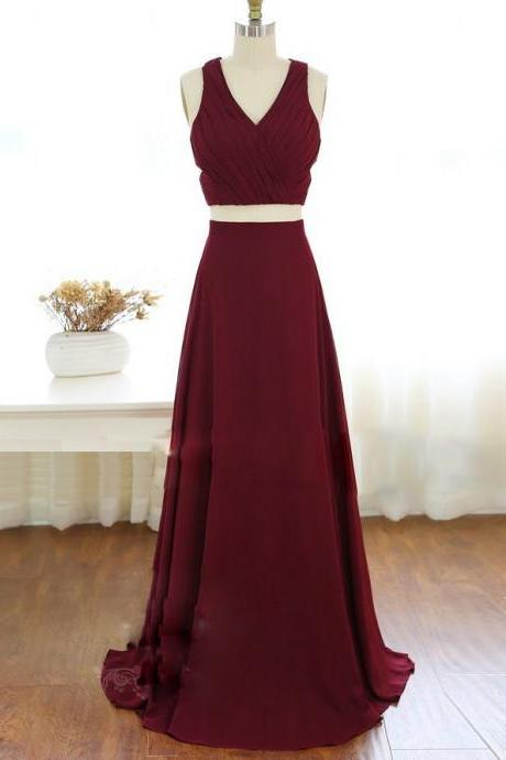 Two Piece A-Line V-Neck Straps Burgundy Chiffon Long Bridesmaid Dress