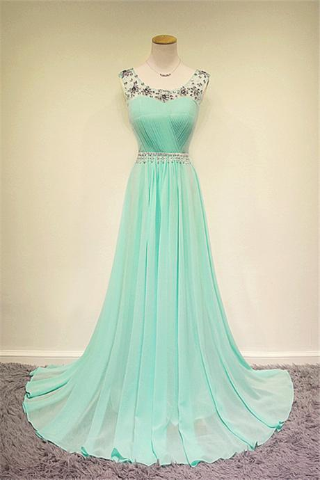 New Design Custom Beaded Long Mint Chiffon Prom Dress, Mint Formal Dress, Evening Dress, Party Press, Wedding Party Dress, Mint Bridesmaid Dress, Mint Prom Dresses, Mint Dresses, Weddings