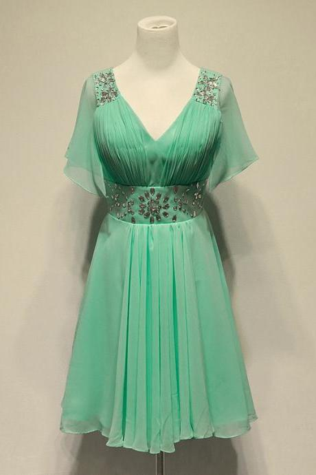 Charming Mint Green Chiffon Knee Length Bridesmaid Dresses with Beadings, Knee Length Bridesmaid Dresses, Green Bridesmaid Dress