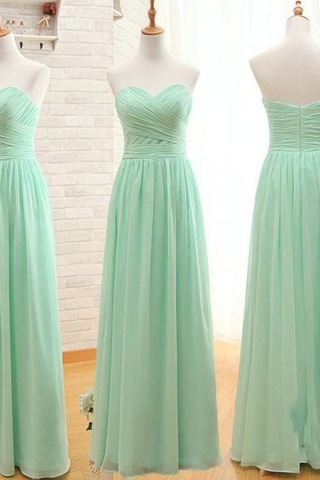 Mint Green Strapless Prom Dress, Bridesmaid Dress
