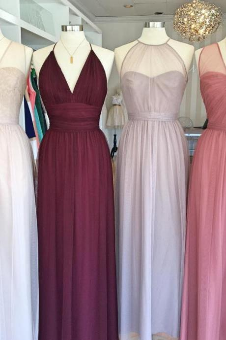 mixed style bridesmaid dresses,tulle bridesmaid dresses,long bridesmaid dresses,wedding party dress
