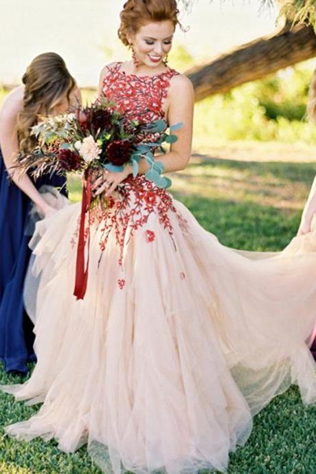Floral Prom Dress Wedding Dress, 2017 Long Prom Dress Wedding Dress