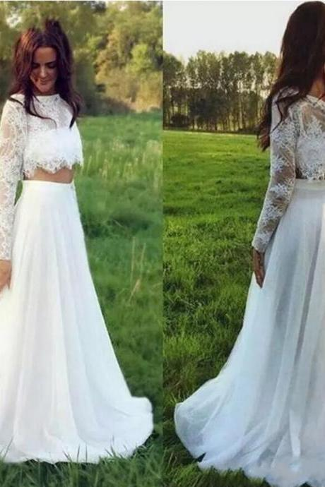 New Bohemian Lace Beach Wedding Dresses Scoop Neck Long Sleeve Summer Garden Long Chiffon Wedding Brida Dress Floor Length
