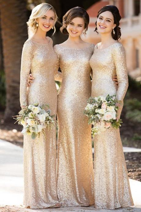 Cheap bridesmaid dresses 2017,2017 A-Line Scoop Neck Long Sleeves Floor-Length Sequined Bridesmaid Dress New Cheap Long Bridesmaid Dresses 2017