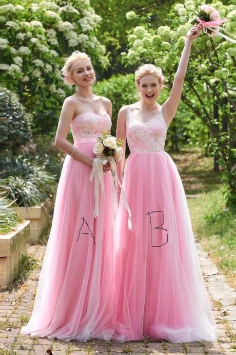 Cheap bridesmaid dresses 2017,Lace Bridesmaid Dress, Pink Bridesmaid Dress, Long Bridesmaid Dress, Mismatched Bridesmaid Dresses, Cheap Bridesmaid Dress, Tulle Prom Dress, Wedding Party Dresses, Elegant Bridesmaid Dress, Bridesmaid Dresses 2017