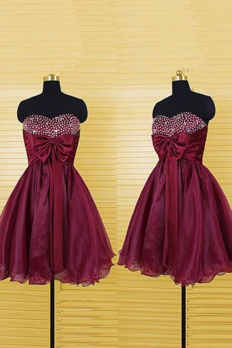 Cheap homecoming dresses 2017,Burgundy Short Prom Dresses Beaded Sweetheart Organza Homecoming Dresses
