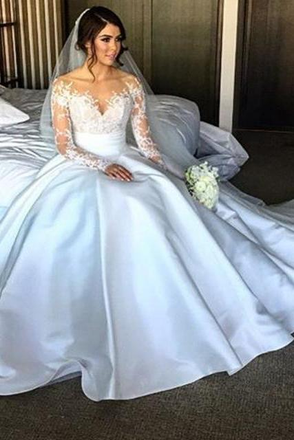 Cheap wedding dresses 2017,New Elegant Long Sleeve Appliques Taffeta Ball Gown Princess Wedding Dresses Bridal Gown