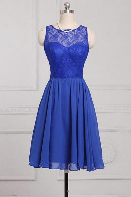Cheap bridesmaid dresses 2017,Royal Blue Short A-Line Evening Dress Featuring Lace Strapless Bodice And Zipper Back