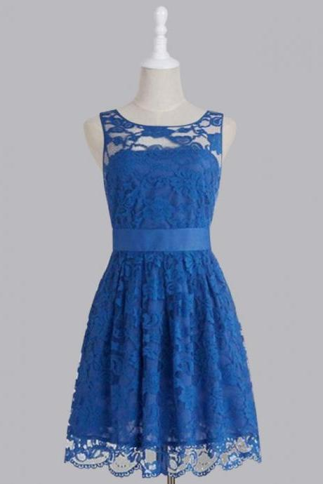 Cheap bridesmaid dresses 2017,Bridesmaid Dress, Simple Royal Blue Scoop Lace Short Knee Length Bridesmaid Dress,