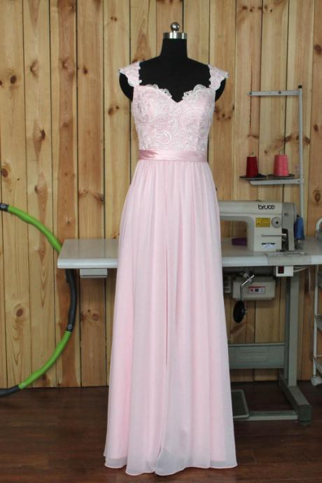 Cheap bridesmaid dresses 2017,Pale Pink Bridesmaid Dress, Lace Chiffon Prom Dresses,Wedding Party Dress With Straps, Long Formal dress, Prom Dress,A Line Prom Dresses,Bridesmaid Dress