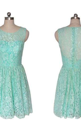 Cheap bridesmaid dresses 2017,Mint Green Short Lace Bridesmaid Dresses 2017 New Jewel Wedding Party Dresses Cocktail Dresses Mini Prom Gowns