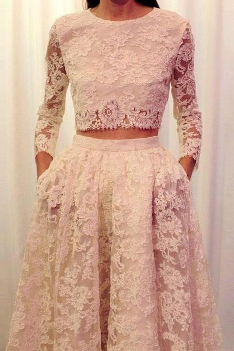 Cheap wedding dresses 2017,Faisata Illusion Neckline Two Piece Wedding Dress Boho Lace Long Sleeve Bridal Dress