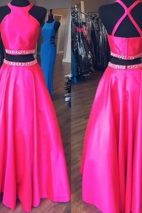 Custom Made Fuchsia Pink Satin A-Line Two- Piece Bridesmaid Dress with Rhinestone Beading Embellishment, Prom Dress