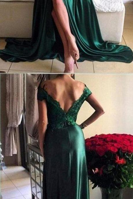 Cheap prom dresses 2017,Off Shoulder Green Lace Evening Prom Dresses, 2017 Long Slit Prom Dress, Custom Long Prom Dresses, Cheap Formal Prom Dresses