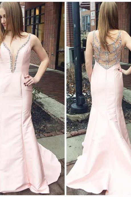 Cheap prom dresses 2017,Beaded Pink Plunging V Neck Prom Dress,Taffeta Mermaid Formal Gown With Sheer Back