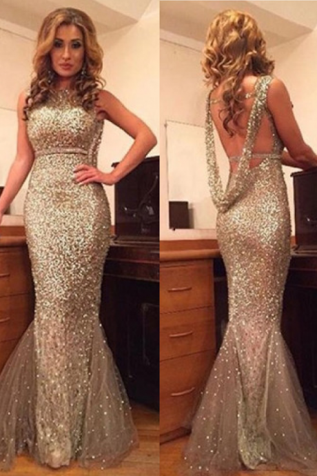 Cheap prom dresses 2017,Sexy Scoop Sequines Gold Mermaid Backless Prom Dress