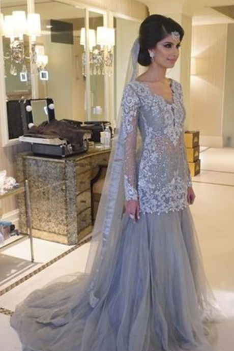 Cheap prom dresses 2017,Prom Dress, Charming Prom Dress,Appliques Prom Dress Tulle Prom Dress,Long-Sleeves Prom Dresses,Wedding Guest Prom Gowns, Formal Occasion Dresses,Formal Dress