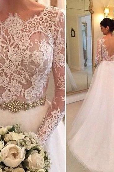 Cheap wedding dresses 2017,Wedding Dress,Tulle Wedding Dresses Crew Neck Sheer Long Sleeve Lace Accents Crystals Beading Bridal Gowns Wedding Gowns,Graduation Dresses,Wedding Guest Prom Gowns, Formal Occasion Dresses,Formal Dress
