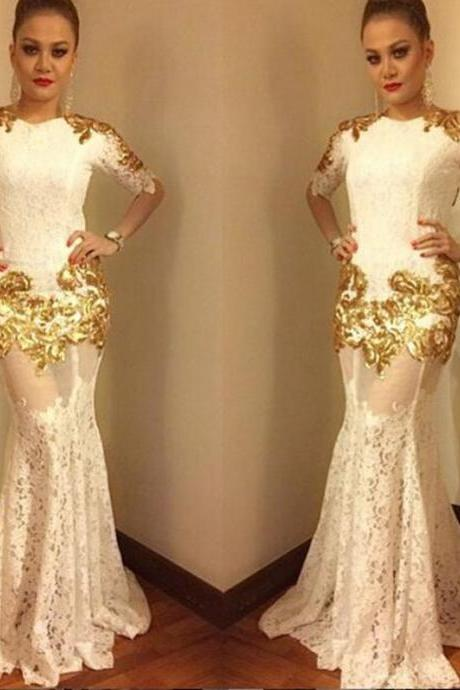 Cheap prom dresses 2017,Mermaid Sexy Lace Half Sleeves Evening Gowns 2017 Gold Appliques Prom Dress