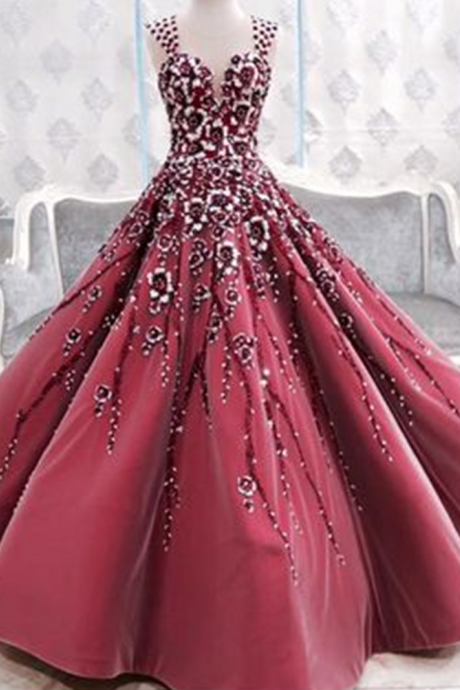 Cheap wedding dresses 2017,Prom Gown,Prom Dresses,Burgundy Evening Gowns,Party Dresses,Burgundy Evening Gowns,Ball Gown Formal Dress,Evening Gowns For Teens