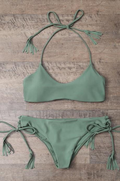 Tasselled Halter Bikini Set - Army Green S