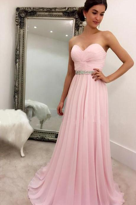 Custom Made Light Pink Sweetheart Neckline Chiffon A-Line Bridesmaid Dress with Front Twist and Diamond Beading, Prom Dress