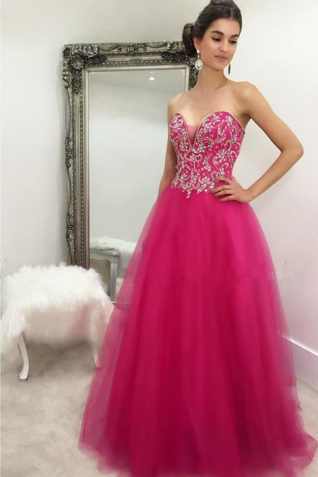 Custom Made Fuchsia Pink Sweetheart Neckline Tulle A-Line Bridesmaid Dress with Crystal Beading, Prom Dress