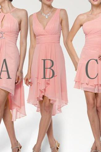 Formal Prom Party Custom Size Peach Bridesmaid Dress Short Bridesmaid Dress Bridesmaid Dress Mismatched Bridesmaid Dress