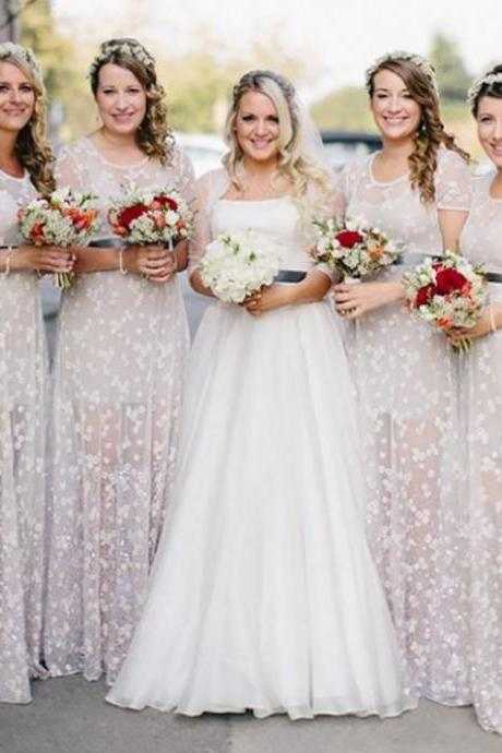 Long Bridesmaid Dresses, Bridesmaid Dresses 2017 Customized A-line Short Sleeves Round Floor-Length Sash Zipper Dresses